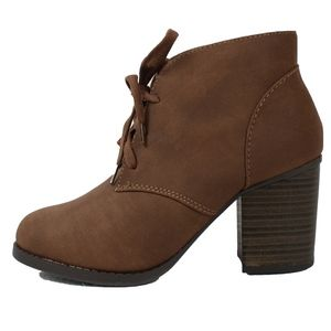 Brown faux nubuck leather lace up ankle boot